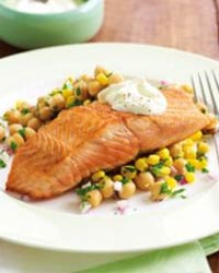 Dinner Pan Fried Salmon With Chickpea Salad